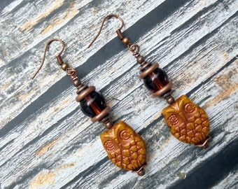 Golden Mustard and Copper Owl Earrings (2536)