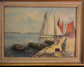Old oil painting sail scene signed I.Rewell dated 1949 Framed Free Shipping