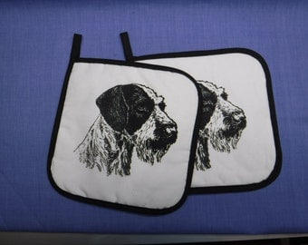 German Wirehaired Pointers Dog Fabric 2 Pot Holders