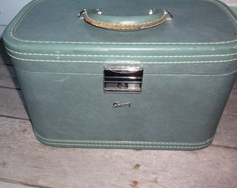 Train Case Vintage Blue Green maybe Gray Skyway Train Case Luggage Suitcase Gorgeous for Display or Wedding Card box or Photography prop