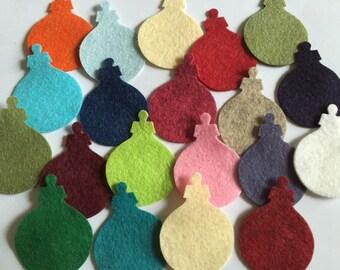 Wool Felt Holiday Ornaments 20 total - Random Colors. 3222