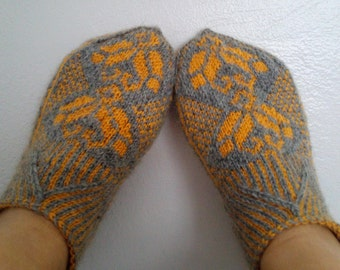 Home Slippers-mustard yellow and gray-Hand knit women house slipper-Traditional Turkish Design