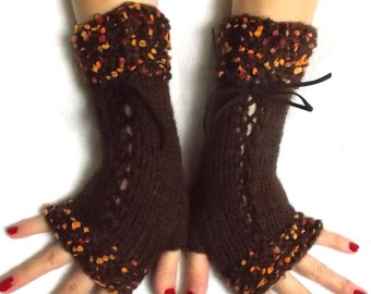 Knit Fingerless Gloves Corset Wrist Warmers in Brown with Suede Ribbons Orange Copper mini pompoms