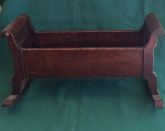 Antique American Doll Bed Rocking Bed Country Primitive Farmhouse 19th Century Original Finish