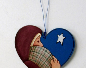 Mary and Baby Jesus, Nativity Ornament, Tole Painted, Hanging Ornament, Heart Shaped Christmas Ornament, Christmas Ornament, Hand Painted