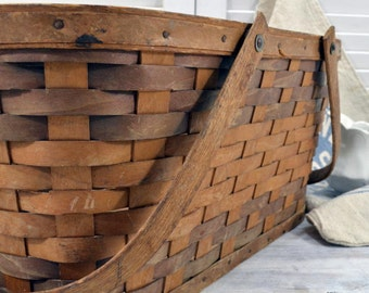 Vintage Woven Wood Picnic Basket - Farmhouse Storage and Display