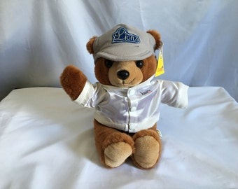 Vintage 90's Detroit Lions Football Coach Teddy Bear with Lettermen's Jacket and Ballcap by Team NFL™