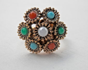 Sarah Coventry Vintage Ring Goldtone Ring Flower Ring Size 6 Ring Pearls