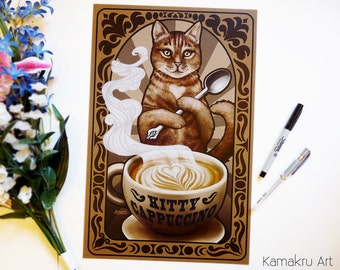 Kitty Cappuccino | Art Nouveau | Love Coffee | Brown Tabby Cat | Kitchen Decor Art | Brown Black White | Art Print | 11x17