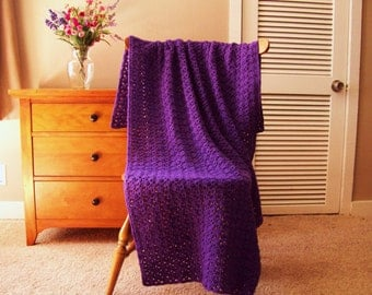 Purple Hand Crochet Throw Blanket, Afghan, 59 x 37, Solid Color Sofa Couch Bed Lap Adult More colors @ Cozy Home Crochet