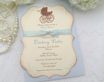 Carriage Invitations Boy Baby Shower Invite Pram Printed Set of 10