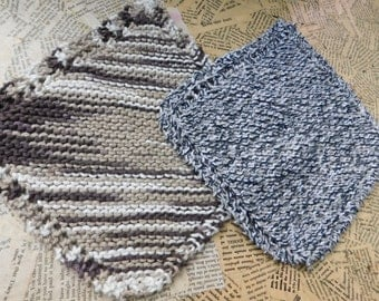 Cotton Knit Dishcloths   Set of Two, Brown and Cream   Dishcloths   Vegan    Washcloths   Ecofriendly   Reusable   Natural