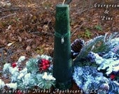 EVERGREEN & PINE Crystal Mottled Pillar Candle For Winter Magick, Holiday Celebrations, Circle Of Friends