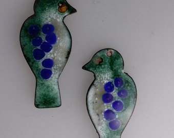 Enameled Earring Findings Sitting Birds 2016 F-1363