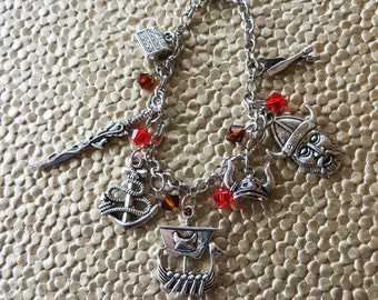 Viking Themed Silver Charm And Crystal Bracelet