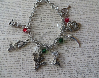 Mexico Themed Silver Charm and Crystal Bracelet