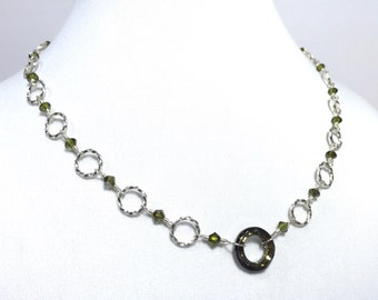 Silver Rings Wire Wrapped Crystal Beaded Necklace Olive Green with Olive Crystal Ring