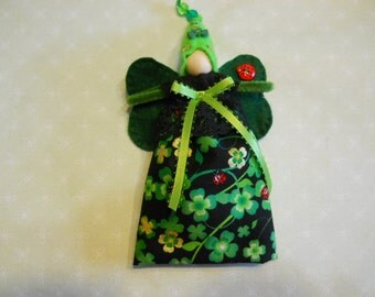 Fairy Doll in St. Patrick's Day Cotton Fabric and Felt with Green Wings and Light Green Hat, Child's Fairy Doll Toy