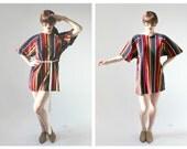 Mod Velvet Shift Mini Dress- M, Navy, Red, Yellow, Bell Sleeve Stripe Tassle Belt, 60s, Nautical Housedress, Mollyclaire