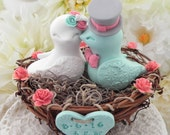 Rustic Love Bird Wedding Cake Topper -Coral, White and Mint Green, Love Birds in Nest - Personalized Heart