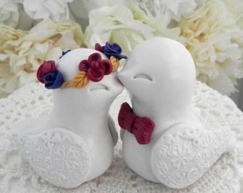 Fall Wedding Cake Topper, Love Birds, Ivory Birds, Burgundy, Navy, Gold - Flower Wreath - Bride and Groom Keepsake, Fully Custom