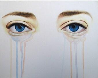 Eyes Of Crystal - Eye Art  - ART PRINT - 8 x 10 - By Mixed Media Artist Malinda Prudhomme