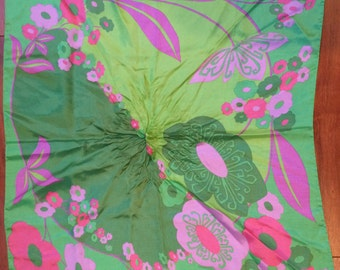 Large Scarf Floral Pink Purple Green Stunning Vintage Accessory Hand rolled lg