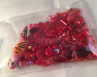 Vintage Lot of Red Beads - 1oz
