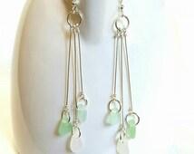 GENUINE Sea Glass Earrings Trio Mini Pastels Aqua White And Sea Foam Green, Beach Glass Earrings, Seaglass Earrings, Beach Earrings