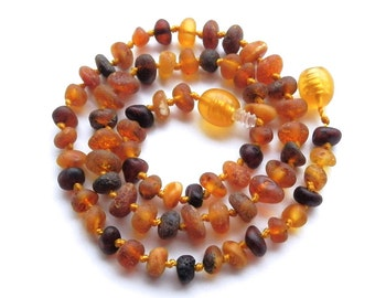 "13.4"" Natural Baltic Amber baby teething necklace, unpolished beads, dark color amber teething necklace, max effect"