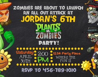 Plants Vs Zombies Invitation