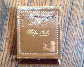 Vintage Metro Games Leather Chip Set Poker Travel