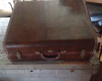 Vintage Samsonite Alligator Crocodile Suitcase Luggage