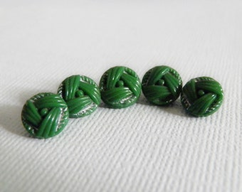 Leaf Green Glass Buttons