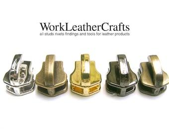10pcs YKK no.3/no.5 (for nylon zipper only) Genuine Leather Zipper Fastener Slider, YKK Zipper Head, Zipper Slider