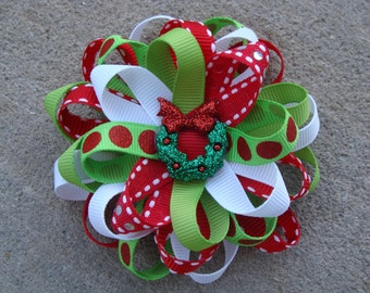 Christmas Hair Bow Loopy Flower Hair Bow winter hair bow green and red hair bow