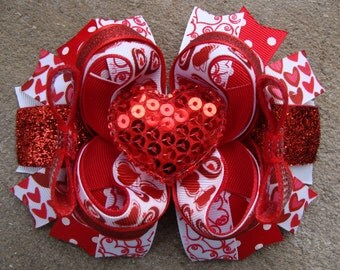 Red Valentine Hair Bow - Boutique Stacked Hair Bow Hair Clip large hair bow fancy hair bow pink and white hair bow