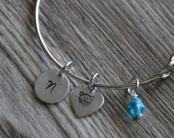 Cat Bangle, Pet Bangle, Personalized Bangle Initial Birthstone, Cat Jewelry, Kitty Bangle, Hand Stamped, Kitty Cat Jewelry