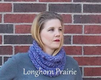 Cowl / Infinity Scarf - merino wool & tussah silk, knitted with handspun yarn RTS