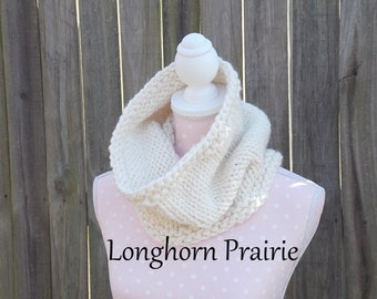 Chunky knit Cowl infinity scarf wool RTS