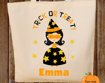 Trick or Treat Bag Witch Halloween Tote Bag Trick or Treat Bag