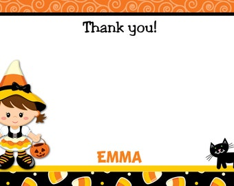Candy Corn Witch Thank You Note  Halloween Thank you