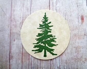 Rustic Pine Tree Stickers Cardstock Labels Envelope Seals