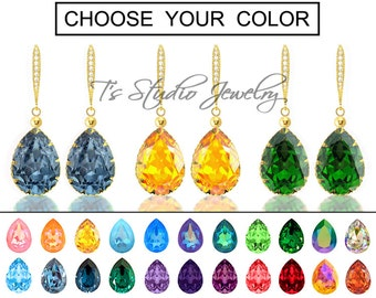 "CHOOSE YOUR COLOR Pear Shaped Crystal Bridesmaid Earrings - ""Mia"" - Gold"