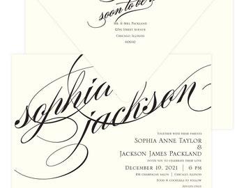In Love elegant black script wedding invitation suite; SAMPLE ONLY