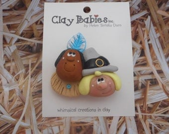 FREE SHIPPING!  Polymer Clay Pilgrim and Indian Thanksgiving PIN