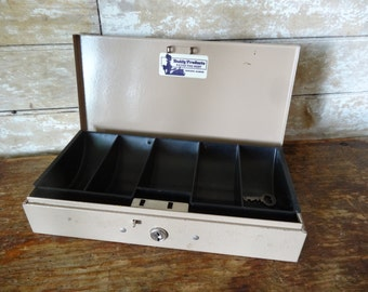 Vintage Industrial Money Metal Box With Key