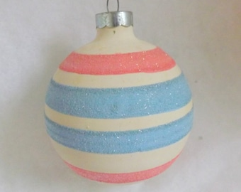 Vintage Christmas ornament unsilvered WWII ornament matte white pink blue striped ornament pastel mica ornament no 1