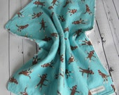 Ready to Ship // Aqua Sock Monkey Flananel Fabric with White Cotton Chenille Security Blanket Lovey