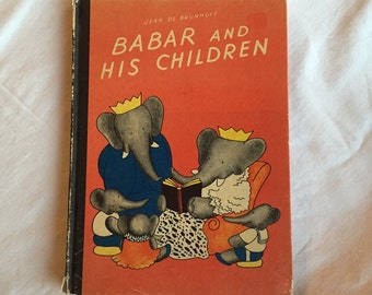 Vintage Children's Book,  Babar And His Children,  Jean De Brunhoff,  1966 Hardback Book, Illustrated